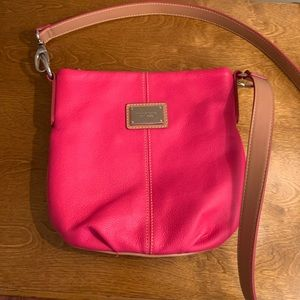 Tignanello Pink and Tan Leather Crossbody.